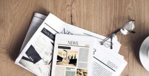 Newspapers on floor
