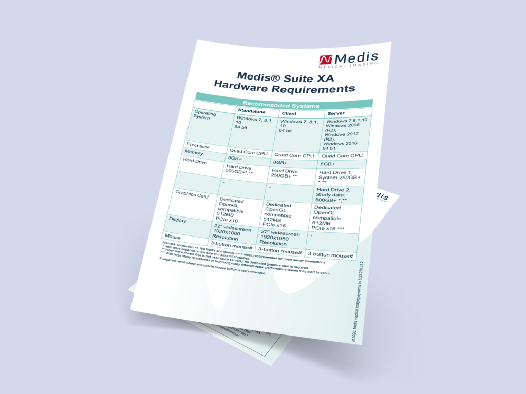Medis Suite XA Hardware Requirements